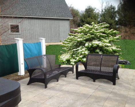 The viburnum 'Maresii' turns the hot tub and firepit area into a cozy room. Photo: Karen Shreefter