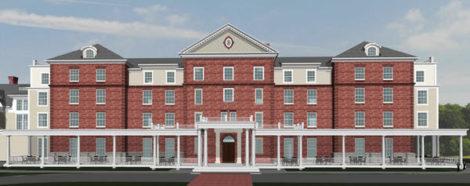 A rendering of the Mahida family's Berkshire Hotel on Bridge Street, adapting the Searles School.