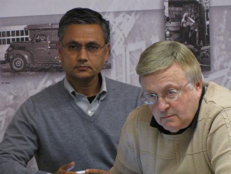 Vijay Mahida and Dave Carpenter at hearing for the Berkshire Hotel on Bridge Street in Great Barrington. Photo: David Scribner