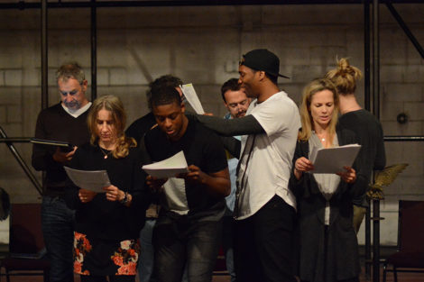 From left, the cast of 'Cymbeline' in rehearsal: Nigel Gore, Bella Merlin, Thomas Brazzle, Deaon Griffin-Pressley, Josh Aaron McCabe, Tamara Hickey. Photo: Olivia Winslow