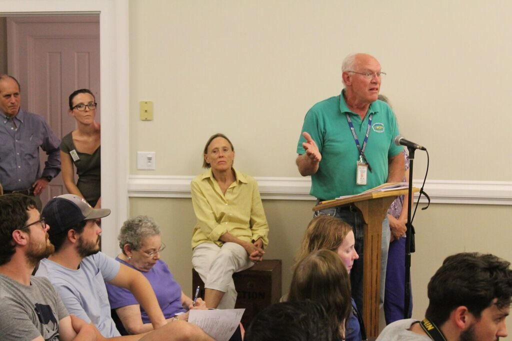Airport manager Ken Krentza tells the selectmen the process 'has turned into a mess.' Photo: Terry Cowgill