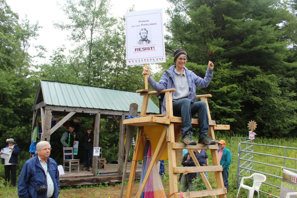 Rebecca Bradshaw sits atop the 'USS Baxter Lifeguard Chair.' Photo: Terry Cowgill