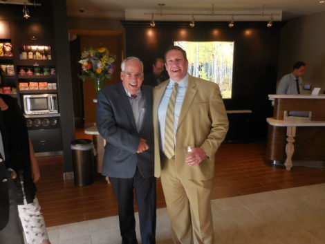 Joe Toole, at left, with attorney Rich Dohoney at the hotel opening. Photo: Terry Cowgill