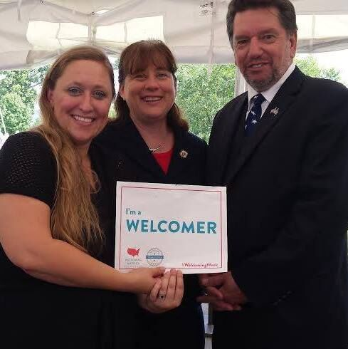 Brooke Mead with Rep. Tricia Farley-Bouvier, D-Pittsfield, and former United States Citizenship and Immigration Services Lawrence Field Director Lou Chaves. Photo courtesy Berkshire Immigrant Center