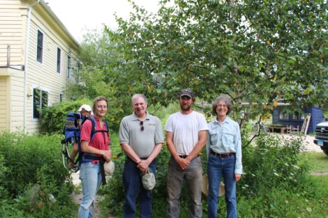 At the invitation of Berkshire Grown Massachusetts Agricultural Commissioner John Lebeaux (second from left) visited North Plain Farm in Great Barrington, formerly the site of Project Native. From left, Tess Diamond, Lebeaux, Sean Stanton and Berkshire Grown Executive Director Barbara Zheutlin. Photo: Katharine Robb