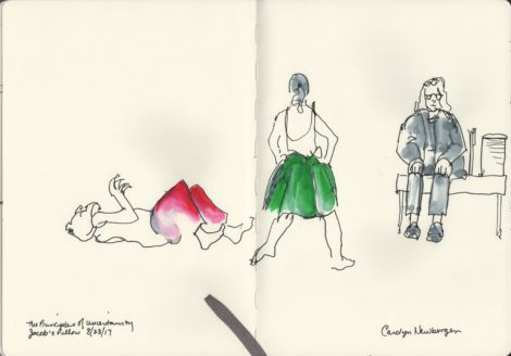 Maira Kalman on 'Uncertainty' stage with dancers in green and red. Illustration by Carolyn Newberger