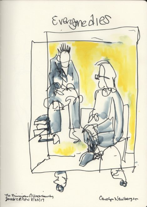 Maira Kalman and man in box. Illustration by Carolyn Newberger