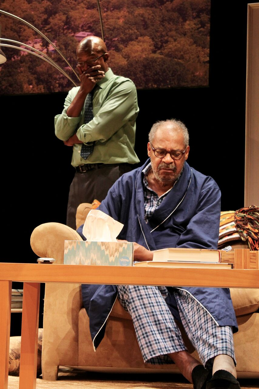 """Leon Addison Brown and Roger Robinson reahears a tense moment in the Berkshire Playwrights Lab production of James Anthony Tyler's play """"Some Old Black Man""""."""