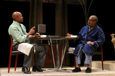 Leon Addison Brown as Calvin and Roger Robinson as his father Donald confront each other over whether Donald should eat a bowl of yogurt. Photo: Terry Cowgill