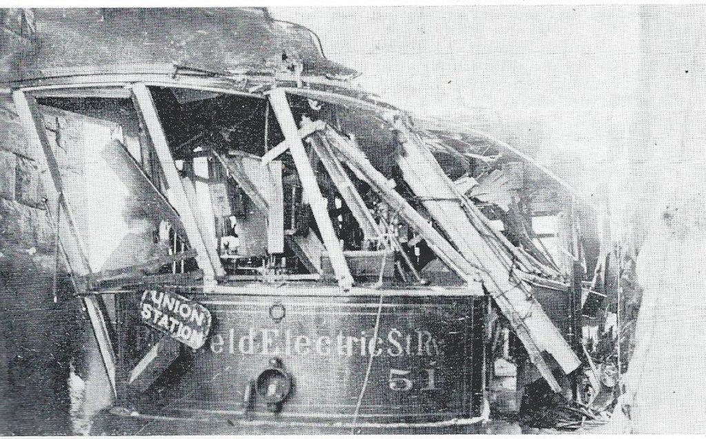 Gaffney Bridge accident, 1910. Photo courtesy 'Berkshire Street Railway' by O. R. Cummings