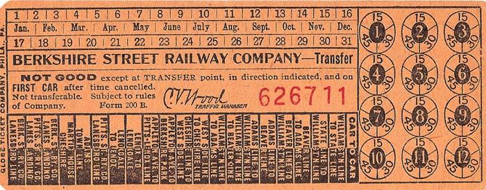 Berkshire Street Railway Company trolley transfer