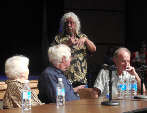 Legendary folk singer Arlo Guthrie recalls trying to convince town officials to allow him to hold a fundraiser concert at the inn with Pete Seeger. Listening to his recollection are, from left, Olga Weiss, Larry Gadd and Jeremy Yudkin. Photo: Terry Cowgill