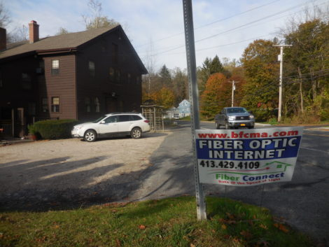 A sign from Fiber Connect beckons residents of Egremont, one of the next towns to get fiber-optic broadband. Photo: Terry Cowgill