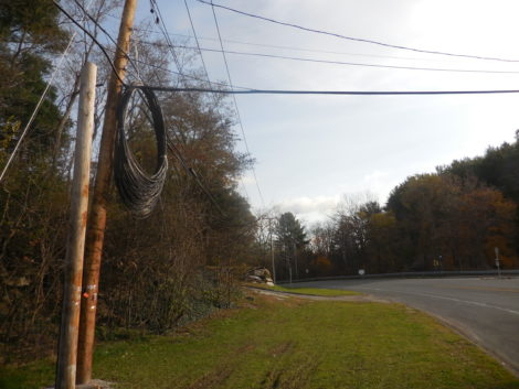 Lots of fiber hangs on a pole awaiting installation on Route 23 in Egremont. Photo: Terry Cowgill