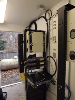 The point of presence (POP) room in the back of Town Hall containing the hardware supporting the network. Photo: Gail Garrett