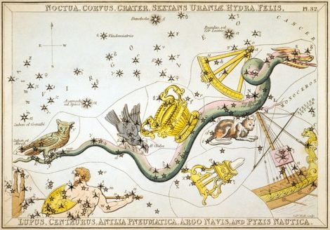 EYES TO THE SKY: Corvus the Crow eyes Virgo's jewel star, Spica