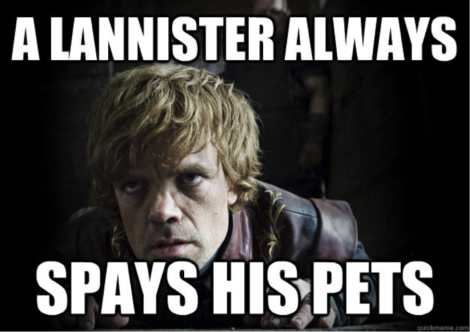 CAPITAL IDEAS: A Lannister always spays his pets
