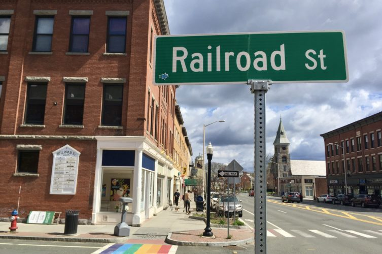 A view up Railroad Street, the main shopping street in Great Barrington, Mass.
