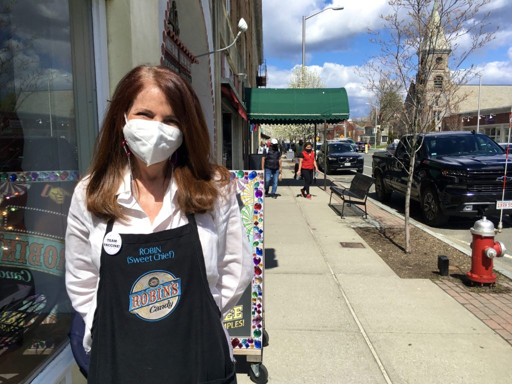 Robin Helfand, owner of Robin's Candy in Great Barrington, outside her store on Main Street