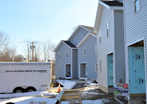 A housing project being built in Pittsfield, Mass., by Habitat for Humanity