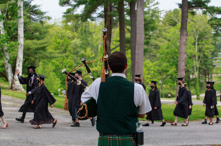 Studants at Bard College at Simon's Rock proceed to their graduation ceremony.
