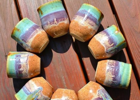 A ring of pottery mugs by Berkshires potter Amrita Lash.