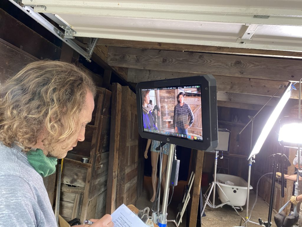 """Matt Greene-DeLanghe reviewing a shot from the film """"Skelly"""""""