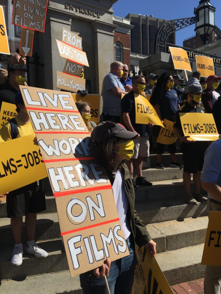 Film production workers rally in Boston to save tax credits for film productio