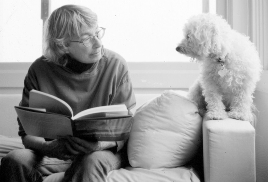 Poet Mary Oliver and her dog