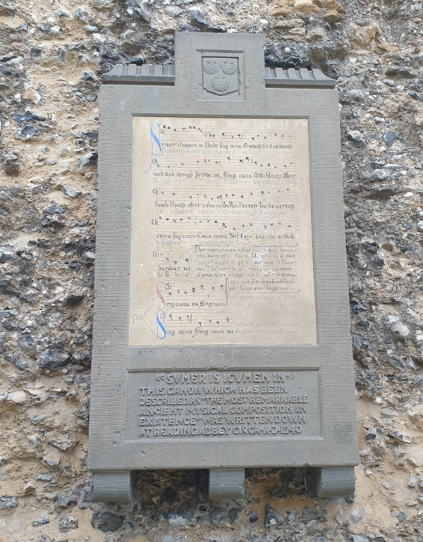 An old English poem on this stone relief